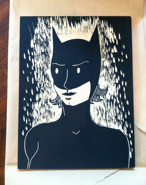 Today's print is a single run woodcut on unryu paper.  Also, it's me as Batman.